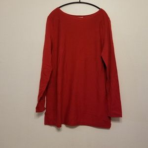 J. Jill red boatneck long tunic sweater